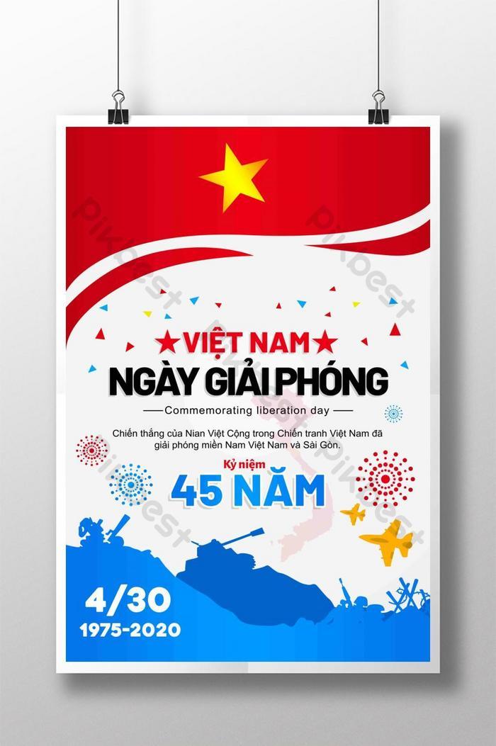 thiết kế poster ngày giải phóng việt nam