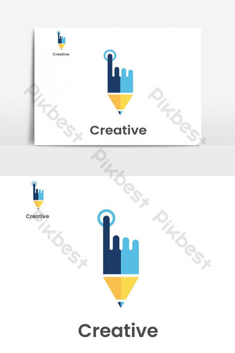 Creative pencil touch point logo PNG Images Template EPS