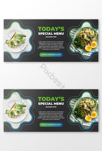 gambar sampul facebook makanan dan spanduk sosial Templat PSD