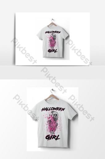 camiseta de halloween santa muerte día de los muertos calavera de azúcar mexicana niña con maquillaje de calavera Elementos graficos Modelo AI