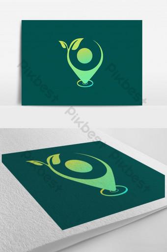 plantilla de diseño de logotipo de hoja verde con la ubicación icónico vector logo ai Modelo AI