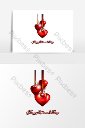 elemento de amor de corazón rojo romance hermoso y creativo para el diseño gráfico del día de la mujer feliz Elementos graficos Modelo EPS