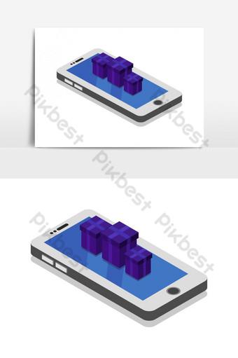 Smartphone con regalo ilustrado en vector sobre fondo blanco. Elementos graficos Modelo EPS