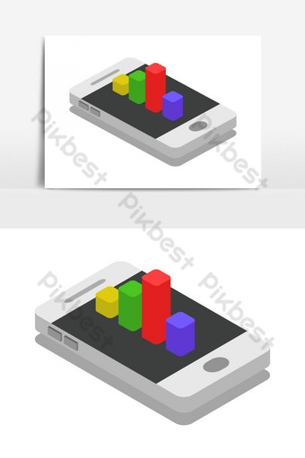 Smartphone isométrico con gráfico de barras ilustrado en vector sobre fondo blanco Elementos graficos Modelo EPS