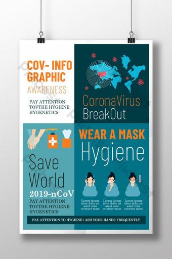 فيروس كورونا معلومات قالب ملصق الوعي الجرافيكي قالب PSD