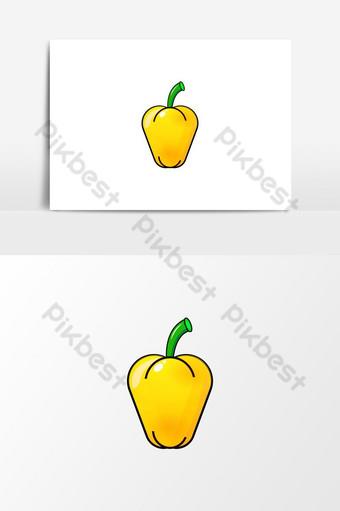 الفلفل الحلو الأصفر الخضروات الطازجة ناقلات الرسم صور PNG قالب EPS