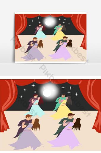Ilustración de vector de parejas de baile de salón Elementos graficos Modelo AI