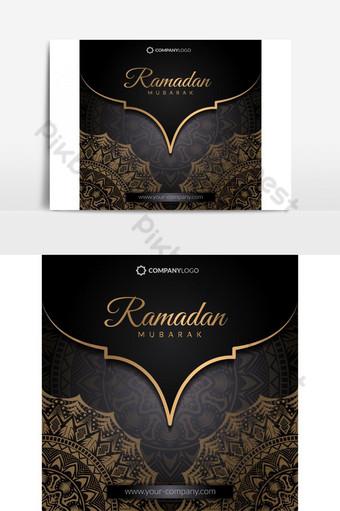 рамадан приветствие исламский праздник дизайн мандала арабески узор элемент Графические элементы шаблон EPS