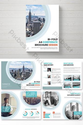 قالب تصميم كتيب برتقالي وأزرق للشركات من ست صفحات قالب EPS