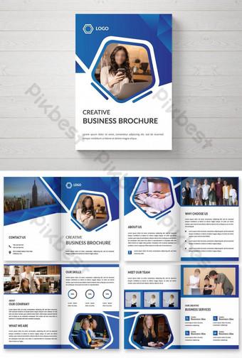Креативный 8-страничный шаблон дизайна бизнес-брошюры шаблон AI
