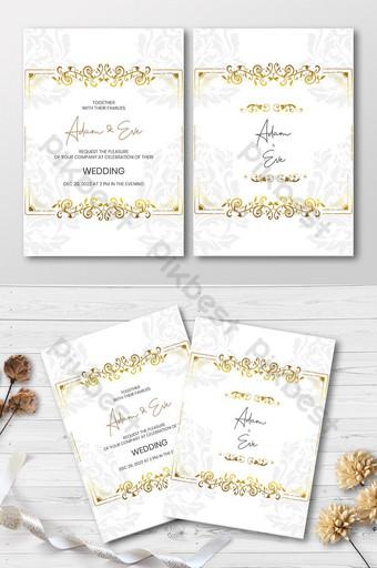 Carte d'invitation de style floral VIP doré Modèle AI