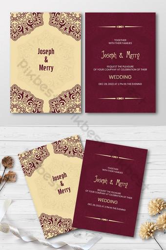 Carte d'invitation de mariage Modèle de couleur d'or de style de luxe Modèle AI
