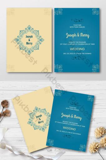 Modèle de carte d'invitation de mariage de style simple totem floral Modèle AI