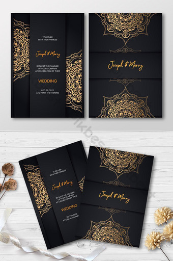 Conception de cartes d'invitation de mariage d'or de luxe Modèle AI