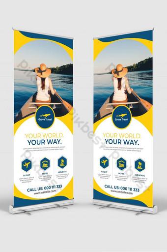enrollar banner para agencia de viajes o aerolíneas Modelo EPS