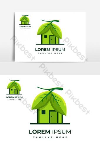 البيئة الخضراء ورقة المنزل تصميم شعار مكافحة ناقلات التوضيح صور PNG قالب EPS