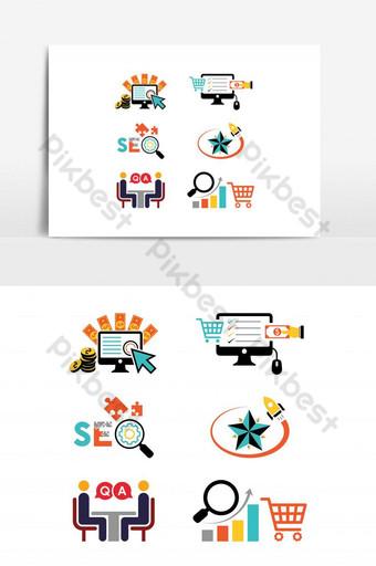 colorido icono de seo pago por clic ranking estrategia de carrito consulta forma de compra en línea Elementos graficos Modelo AI