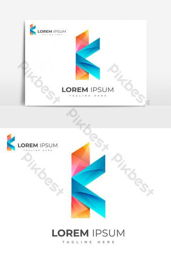 desain logo huruf k abstrak gradien berwarna-warni Elemen Grafis Templat EPS