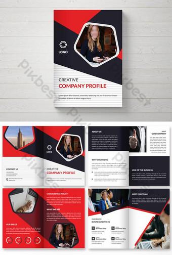 Modèle de conception de page de couverture de magazine de conception de brochure à deux volets colorés créatifs Modèle AI