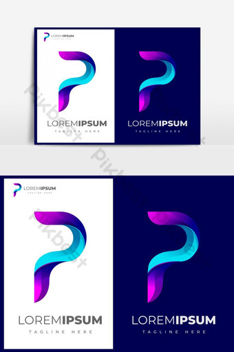 desain logo huruf p abstrak gradien berwarna-warni Elemen Grafis Templat EPS