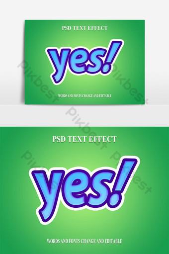 تأثير الخط الحديث الجريء نعم النص صور PNG قالب PSD
