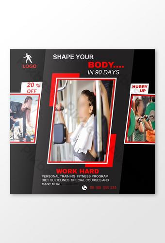 fitness conciencia culturismo atletismo instagram redes sociales banner web publicación de facebook Modelo PSD