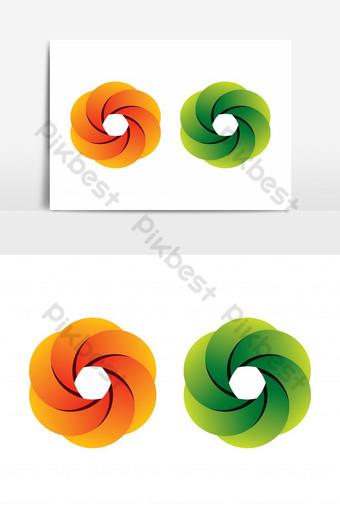 elemento gráfico del logotipo de la flor del círculo de color degradado naranja verde creativo Elementos graficos Modelo AI