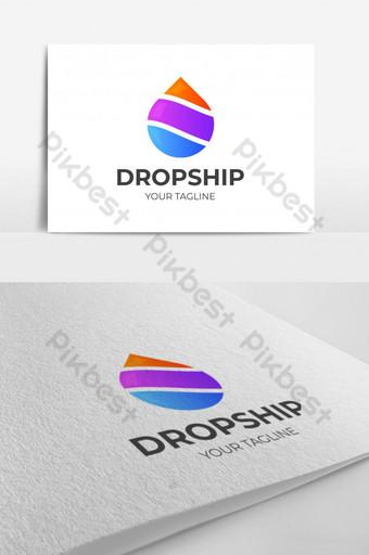 diseño de logotipo de gota de agua abstracta con rayas Modelo EPS