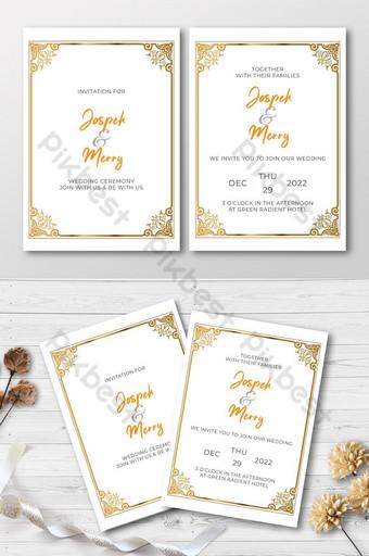 Carte d'invitation de mariage avec des fleurs roses dorées et dessin aquarelle cadre doré Modèle AI