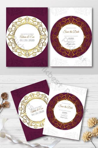 Modèle d'or floral de carte d'invitation de mariage Modèle AI