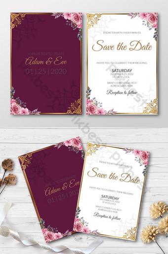 Carte d'invitation de mariage de style simple totem floral Modèle AI