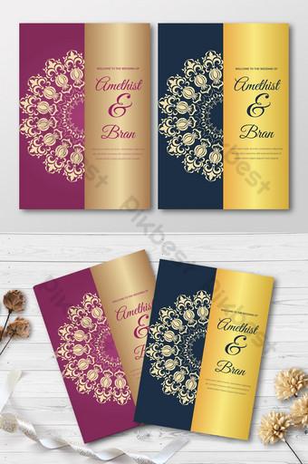 Carte d'invitation de mariage de style floral violet rose Mandala Modèle AI