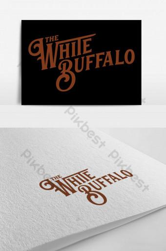 El patrón de ilustración de búfalo blanco con logotipo. Modelo PSD