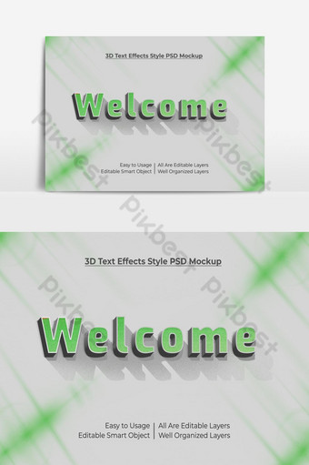 bienvenido 3d texto fresco estilo de fuente maqueta de efecto psd premium Elementos graficos Modelo PSD