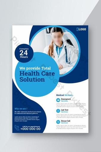 Modèle de mise en page de conception de vecteur médical Flyer Template au format A4 Modèle EPS