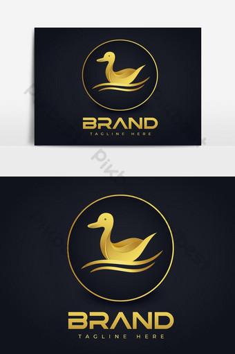 logo de vector de pato de natación con diseño de lujo dorado Elementos graficos Modelo EPS