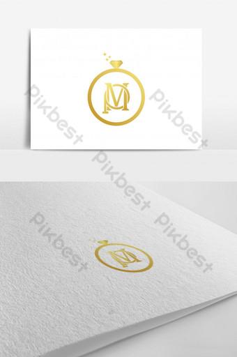elegante logo de letra p y m con anillo de diamantes Modelo EPS