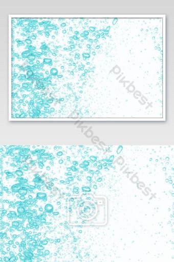 Cerrar las burbujas de agua bajo el agua sobre fondo blanco Burbujas de color verde brillante sobre blanco Fotografía Modelo JPG