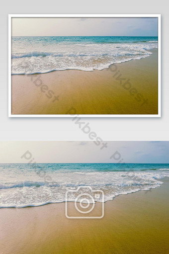 Beautiful sea and sand.Blue sea and sand.In the beach. Photo Template JPG