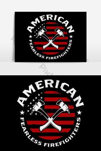 消防員t卹設計模板美國無畏消防員消防員t卹設計 元素 模板 EPS