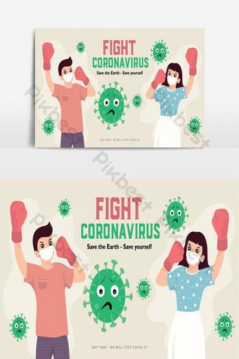 ilustração em vetor plana pessoas lutam contra cura da doença do coronavírus covid 19 2019 pôster da ncov Elementos gráficos Modelo PSD