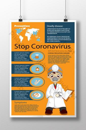 berhenti kreatif poster virus corona Templat PSD