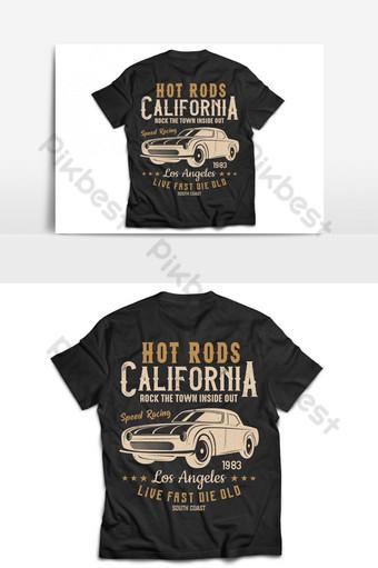 Mainit na tungkod California klasikong kotse t shirt at disenyo ng vector Imahe ng PNG Template AI