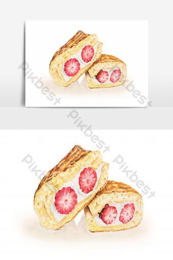Bánh dâu tây và kem đánh bông sơn màu nước Món tráng miệng cho đồ ăn nhẹ Công cụ đồ họa Bản mẫu PNG