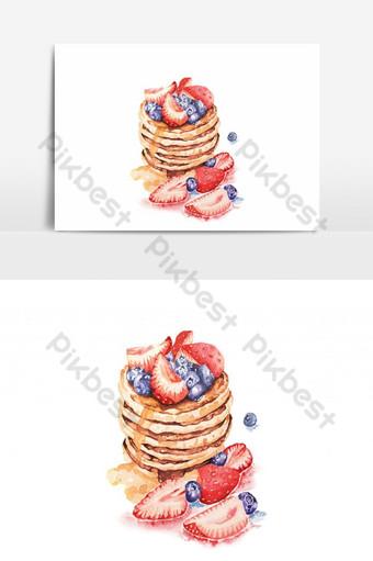 Bánh kếp màu nước với mật ong phủ dâu tây và việt quất Tráng miệng cho bữa ăn nhẹ Công cụ đồ họa Bản mẫu PNG