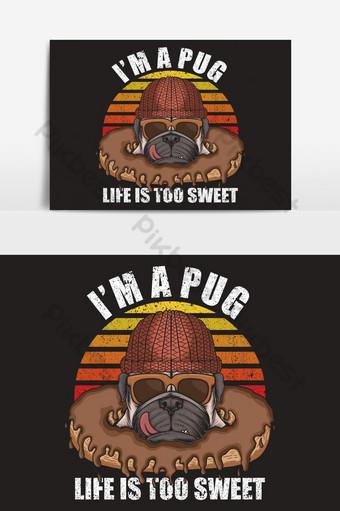 Ilustración retro de donuts de perro pug Elementos graficos Modelo EPS