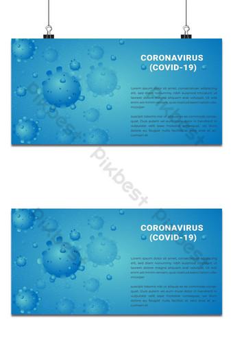 coronavírus covid 19 ilustrações vetoriais em desenho de banner com fundo azul Fundos Modelo EPS