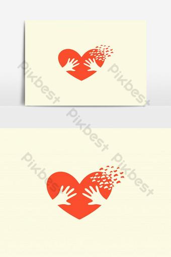 corazón, manos, encantador, romántico, ilustración, vector, diseño Elementos graficos Modelo AI