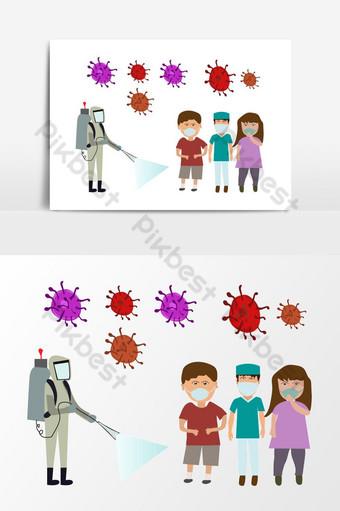 luchar contra el virus de la corona niños pequeños que usan máscaras para la seguridad ilustración plana Elementos graficos Modelo AI