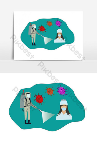 una enfermera lucha con el virus corona y usa una máscara para la ilustración plana de seguridad Elementos graficos Modelo AI